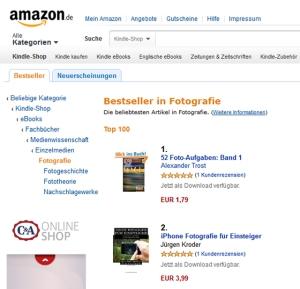 Das eBook iPHONE FOTOGRAFIE FÜR EINSTEIGER ist in den Amazon Kindle-Charts gleich in Top-Positionen gelandet.